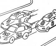 Coloriage et dessins gratuit Un course de voitures à imprimer