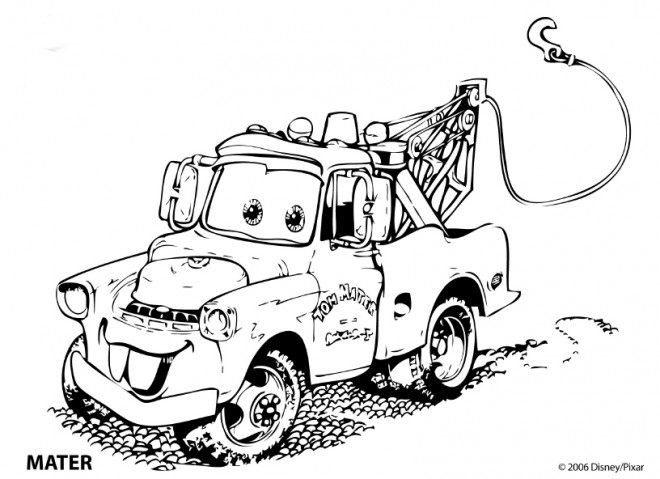 Coloriage et dessins gratuits Auto de remorquage Mater à imprimer