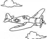 Coloriage et dessins gratuit Avion de Chasse au crayon à imprimer
