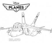 Coloriage Avion de Chasse Bravo dessin animé