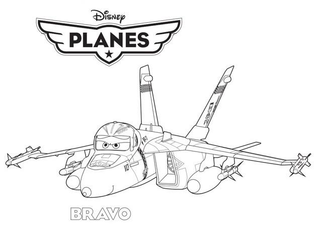 Coloriage et dessins gratuits Avion de Chasse Bravo dessin animé à imprimer
