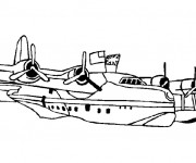 Coloriage et dessins gratuit Avion de Chasse dans l'eau à imprimer