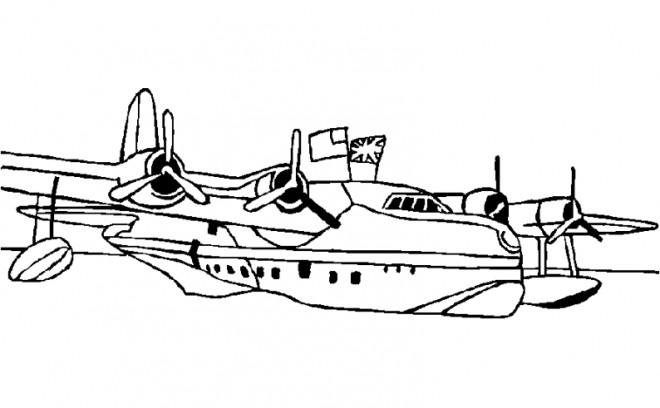 Coloriage et dessins gratuits Avion de Chasse dans l'eau à imprimer