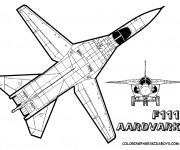 Coloriage et dessins gratuit Avion de Chasse F111 à imprimer