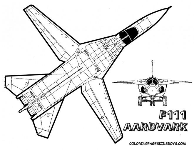 Coloriage et dessins gratuits Avion de Chasse F111 à imprimer