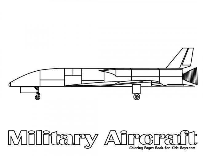 Coloriage et dessins gratuits Avion de Chasse militaire à imprimer