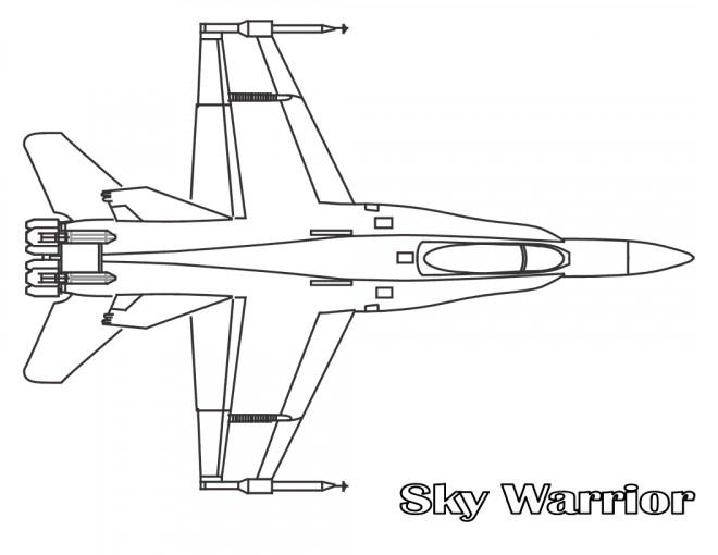 Coloriage et dessins gratuits Avion de Chasse Sky Warrior à imprimer