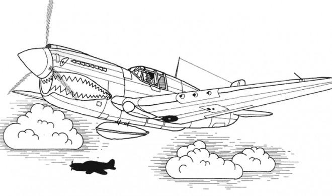 Coloriage Avion De Chasse Tigershark Dessin Gratuit à Imprimer