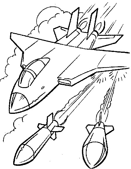 Coloriage et dessins gratuits Avion de Chasse tire des missiles à imprimer