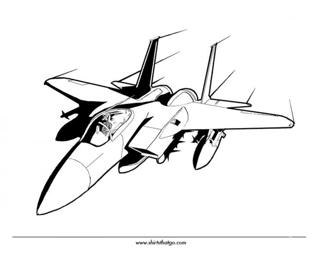 Coloriage Avion De Chasse Vectoriel Dessin Gratuit à Imprimer