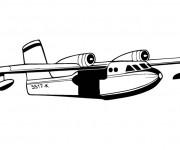 Coloriage et dessins gratuit Avion militaire en noir et blanc à imprimer