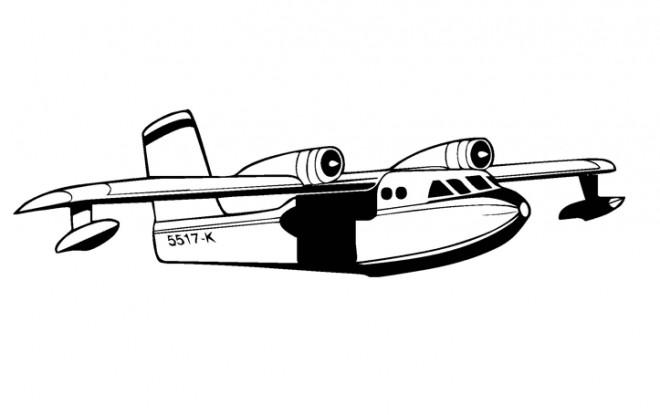 Coloriage avion militaire en noir et blanc dessin gratuit - Dessin avion stylise ...