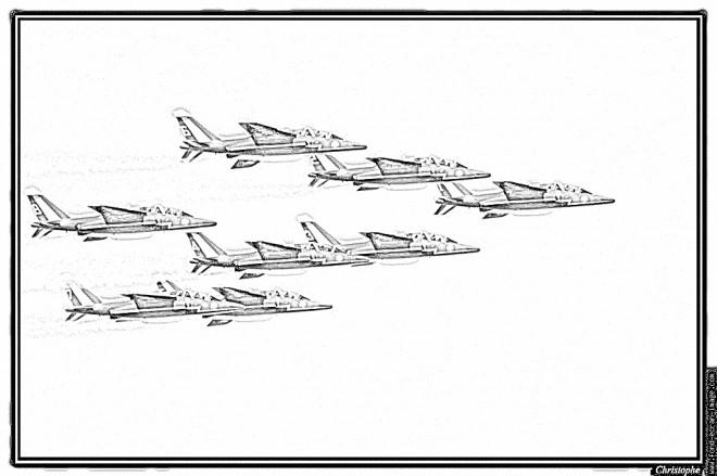 Coloriage Escadrille D Avions De Chasse Dessin Gratuit A Imprimer