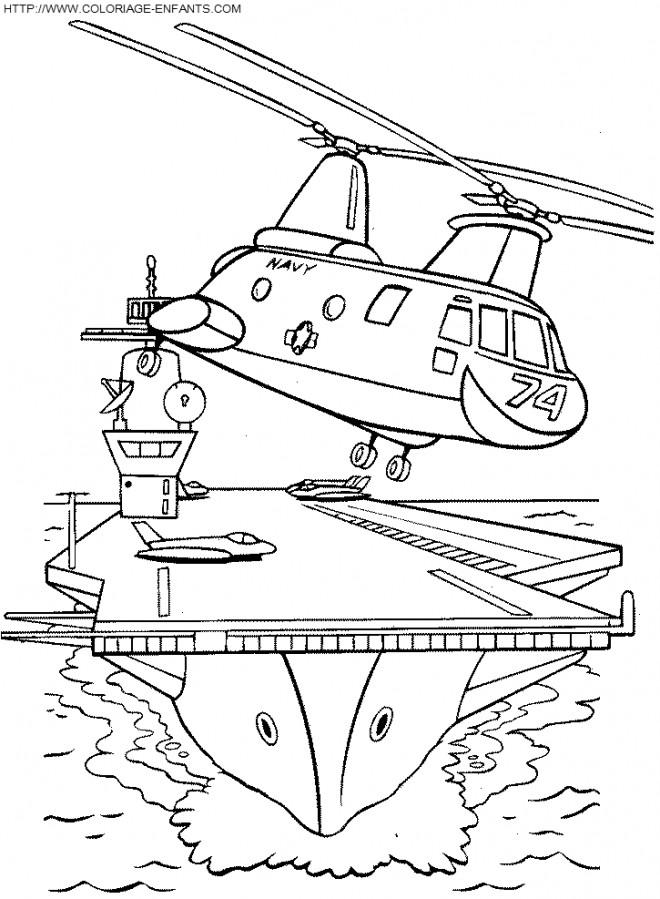 Coloriage et dessins gratuits Hélicoptère militaire quitte la base maritime à imprimer