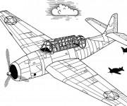 Coloriage et dessins gratuit Avion ancien de guerre à imprimer
