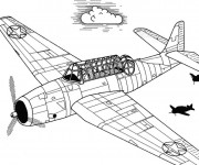 Coloriage Avion ancien de guerre