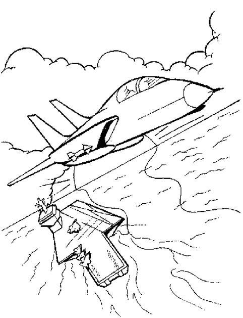 Coloriage et dessins gratuits Avion de Chasse à télécharger à imprimer