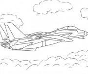 Coloriage Avion de chasse en couleur