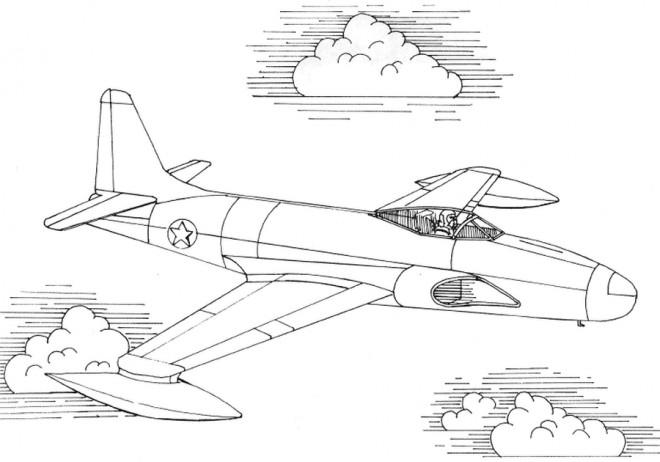 Coloriage et dessins gratuits Avion de chasse puissant à imprimer