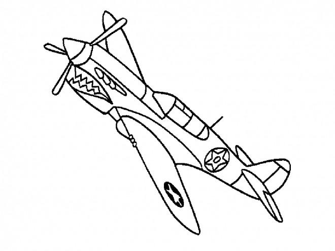 Coloriage et dessins gratuits Avion de Chasse simple à imprimer