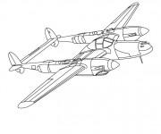 Coloriage Avion de guerre à double engin