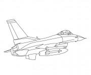Coloriage Avion de Guerre Américain F16