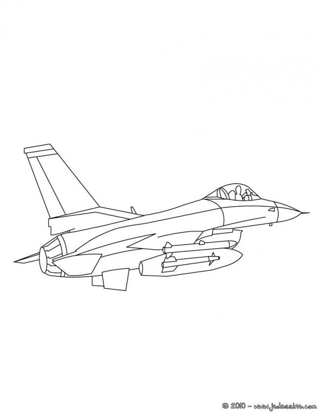 Coloriage et dessins gratuits Avion de Guerre Américain F16 à imprimer