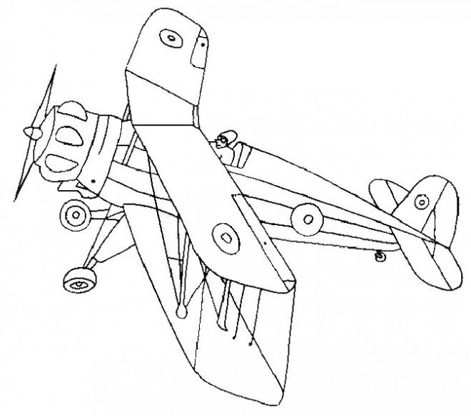 Coloriage et dessins gratuits Avion de Guerre mondiale à décorer à imprimer