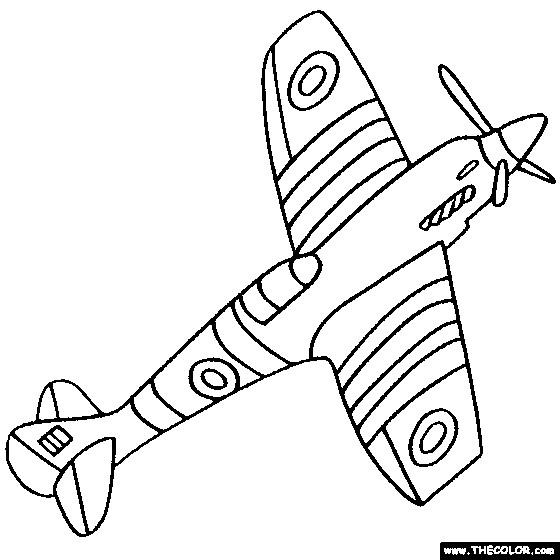 Coloriage et dessins gratuits Avion de Guerre simplifié à imprimer