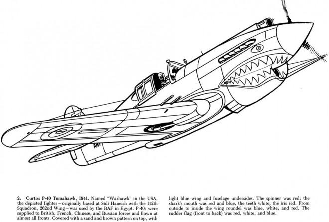 Coloriage et dessins gratuits Avion de Guerre Warhawk à imprimer