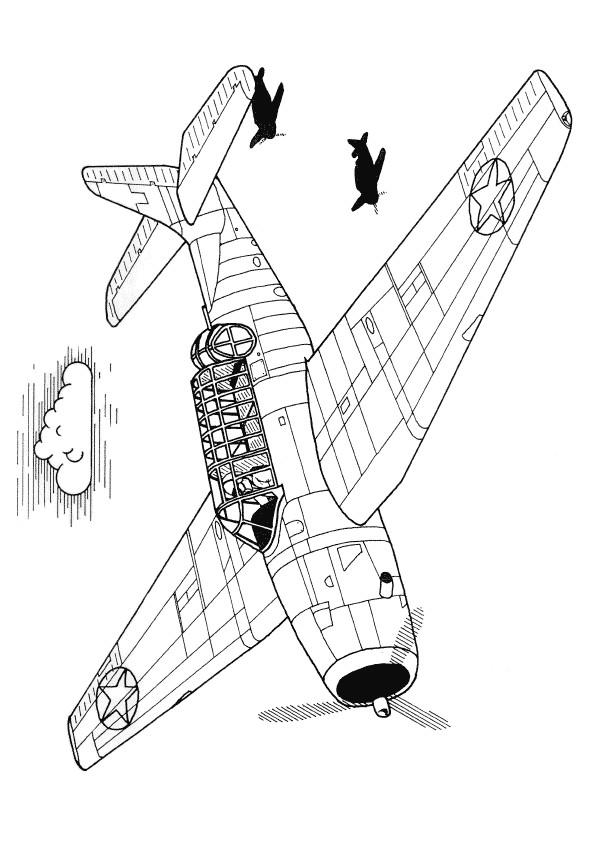 Coloriage et dessins gratuits Des Avions de chasse en mission à imprimer