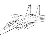Coloriage Modèle d'Avion de Chasse stylisé