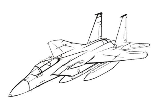 Coloriage mod le d 39 avion de chasse stylis - Dessin a calquer ...