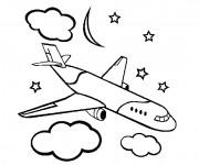 Coloriage et dessins gratuit Avion civile sous les nuages à imprimer