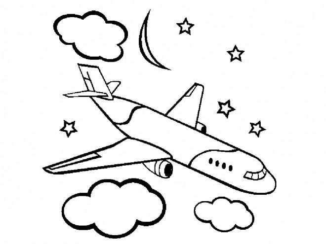 Coloriage et dessins gratuits Avion civile sous les nuages à imprimer