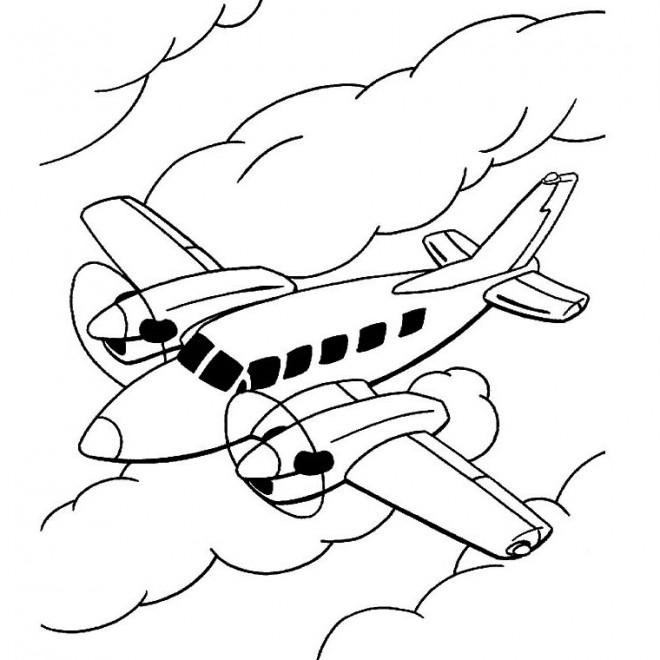 Coloriage et dessins gratuits Avion en l'air à imprimer