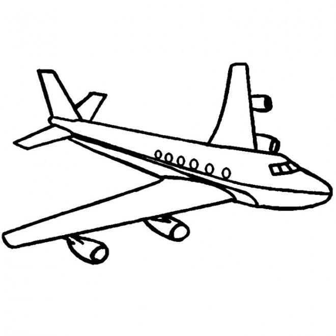 Coloriage avion facile avec ses ailes dessin gratuit imprimer - Dessin d avion facile ...