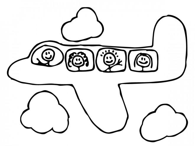 Coloriage et dessins gratuits Avion pour enfant à imprimer