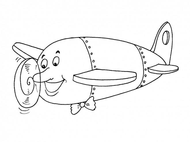 Coloriage et dessins gratuits Avion qui rigole pour enfant à imprimer