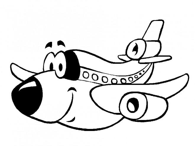 Coloriage et dessins gratuits Avion rigolo à imprimer