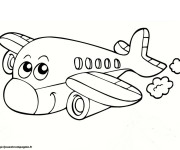 Coloriage Avion souriant