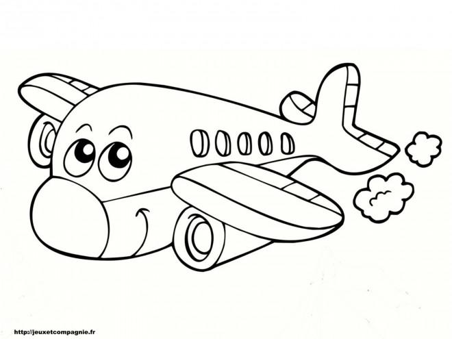 Coloriage Avion Souriant Dessin Gratuit à Imprimer