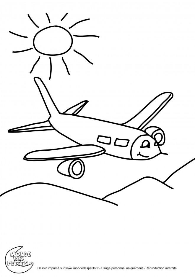 Coloriage et dessins gratuits Avion sous les soleil à imprimer