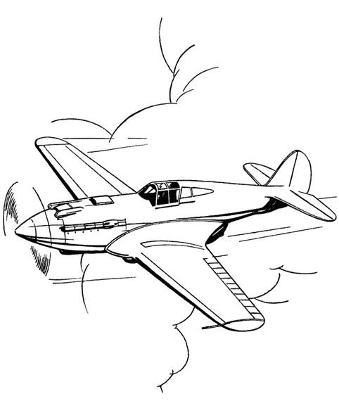 Coloriage et dessins gratuits Avion volant dans le ciel à imprimer