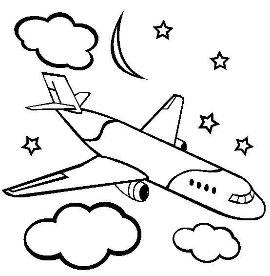 Coloriage et dessins gratuits Avion vole la nuit à imprimer
