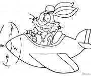Coloriage et dessins gratuit Lapin humoristique  dans son Avion à imprimer