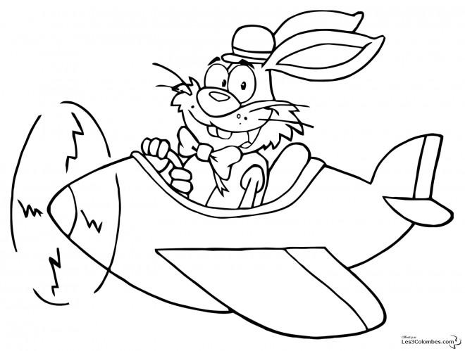 Coloriage et dessins gratuits Lapin humoristique  dans son Avion à imprimer