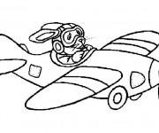Coloriage Lapin pilote l'Avion