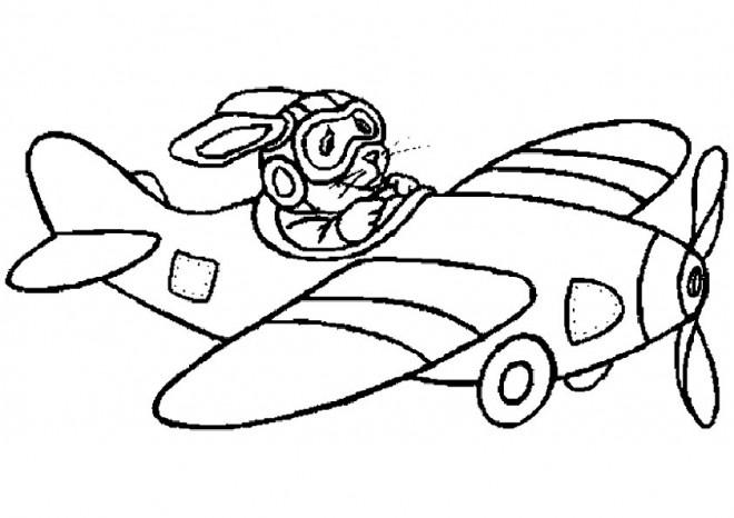 Coloriage et dessins gratuits Lapin pilote l'Avion à imprimer