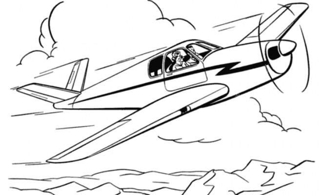Coloriage et dessins gratuits Paysage Avion à imprimer